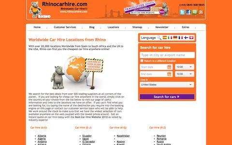 Screenshot of Locations Page rhinocarhire.com - Rhino Car Hire List of Car Hire Locations - Worldwide Locations - captured Sept. 19, 2014