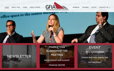 Screenshot of Home Page gfia.gi - GFIA (Gibraltar Funds & Investments Association) - Gibraltar Funds & Investments Association - captured Aug. 1, 2017