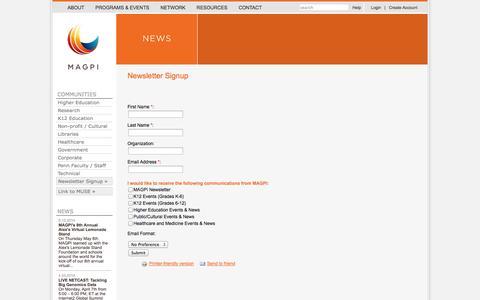 Screenshot of Signup Page magpi.net - Newsletter Signup | MAGPI - captured Oct. 3, 2014