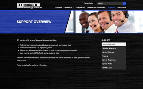 Screenshot of Support Page bubbletech.ca - Support Overview   Bubble Technology Industries Inc. - captured Oct. 5, 2014