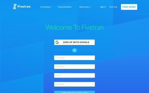 Screenshot of Trial Page fivetran.com - Fivetran - captured July 6, 2018