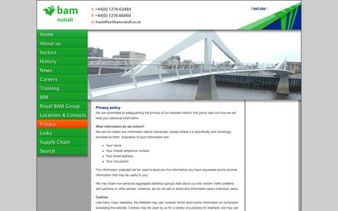Screenshot of Privacy Page bamnuttall.co.uk - BAM Nuttall - captured Oct. 3, 2014
