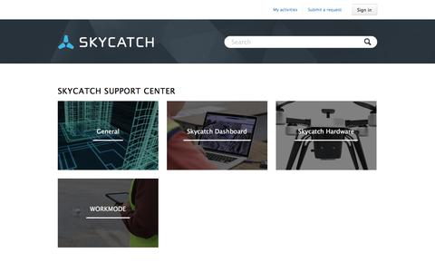 Screenshot of Support Page skycatch.com - Skycatch Support Center - captured March 17, 2016