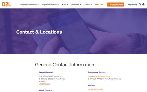 Screenshot of Locations Page d2l.com - Contact Info & Office Locations | D2L - captured Jan. 23, 2018