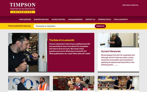 Screenshot of Jobs Page timpsonlocksmiths.co.uk - Working for us - Current Vacancies at Timpson - captured March 14, 2016