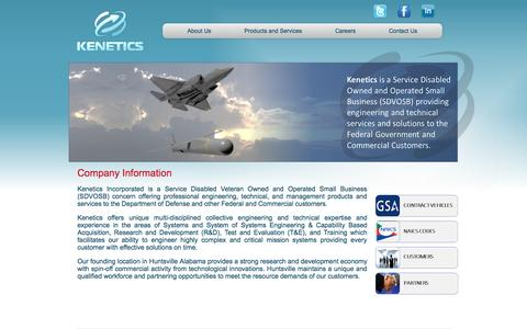 Screenshot of About Page kenetics-inc.com - Kenetics Incorporated - Company Information - captured Oct. 6, 2014