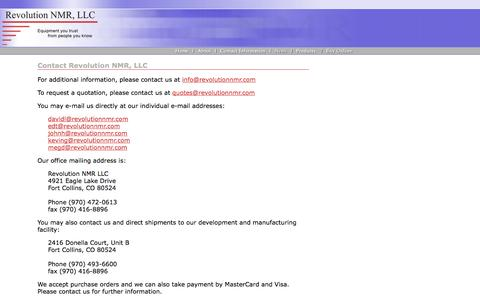 Screenshot of Contact Page revolutionnmr.com - Contact Revolution NMR, LLC - captured Oct. 26, 2014