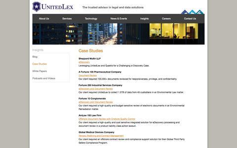 Screenshot of Case Studies Page unitedlex.com - Case Studies - UnitedLex - captured Oct. 7, 2014