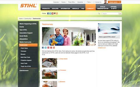 Screenshot of Testimonials Page stihlusa.com - Customer Testimonials About STIHL Outdoor Power Equipment | STIHL USA - captured Sept. 23, 2014