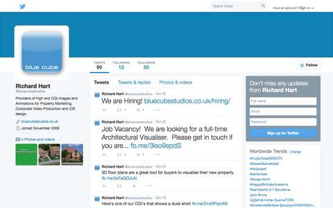 Screenshot of Twitter Page twitter.com - Richard Hart (@bluecubestudios) | Twitter - captured Oct. 25, 2014