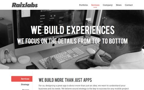 Screenshot of Services Page raizlabs.com - Mobile App Services by Raizlabs - captured Sept. 17, 2014