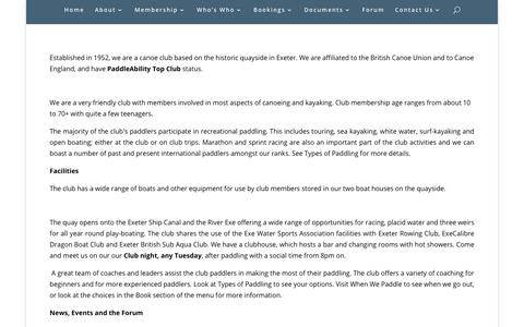 Screenshot of About Page exetercanoeclub.org.uk - Exeter Canoe Club About The Club | Exeter Canoe Club - captured Oct. 24, 2018