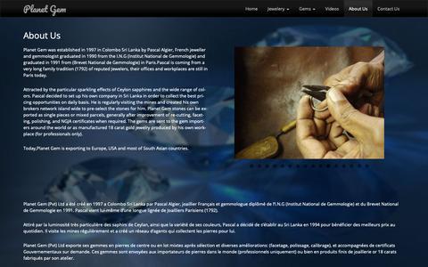 Screenshot of About Page planetgem.com - About Us - Planet Gem | A French Jeweler in Sri Lanka - captured Nov. 9, 2018