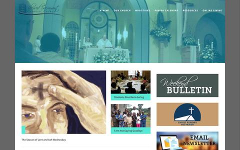 Screenshot of Home Page mybscc.org - Blessed Sacrament Catholic Church - captured Feb. 7, 2016
