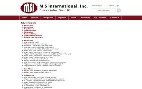 Screenshot of FAQ Page msistone.com - Natural Stone FAQ | M S International, Inc. | Premium Natural Stones - captured Nov. 18, 2015