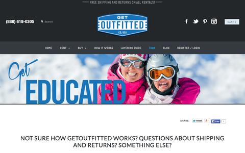 Screenshot of FAQ Page getoutfitted.com - FAQs | Commonly Asked Questions about Renting Ski Gear | Get Outfitted - captured Sept. 16, 2014