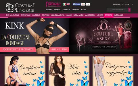 Screenshot of Home Page costumilingerie.it - Vendita Costumi Lingerie sexy intimo bikini e travestimenti online - captured Jan. 17, 2016