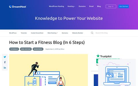 Screenshot of Blog dreamhost.com - How to Start a Fitness Blog (6 Steps) - DreamHost - captured Feb. 21, 2020