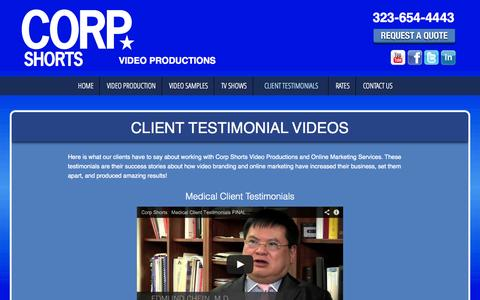 Screenshot of Testimonials Page corpshorts.com - Client Testimonial Videos | Corporate Video Productions, video production Kansas City, video production las vegas, video production bay area, video production business - captured Oct. 3, 2014