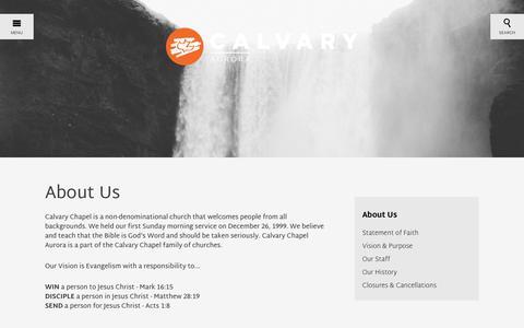 Screenshot of About Page calvaryaurora.org - About Us | Calvary Aurora - captured Oct. 18, 2016