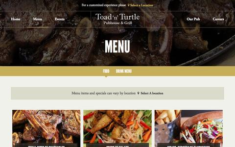 Screenshot of Menu Page toadnturtle.ca - Menu | Toad 'n' Turtle Pubhouse & Grill - captured Feb. 16, 2016