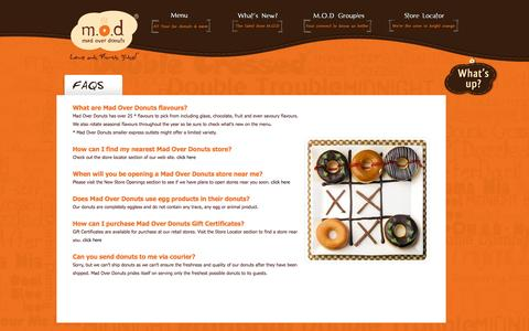 Screenshot of FAQ Page madoverdonuts.com - :.: M.O.D Mad Over Donuts :.: FAQS - captured Nov. 3, 2014