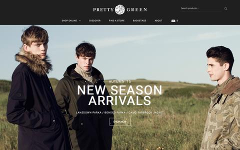 Screenshot of Home Page prettygreen.com - Shop online at Pretty Green | Liam Gallagher | Polo Shirts | Parka Jackets | Men's Fashion from Pretty Green - captured Oct. 1, 2015
