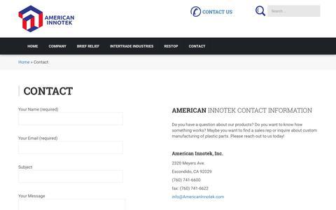 Screenshot of Contact Page americaninnotek.com - Contact – American Innotek - captured Oct. 8, 2017