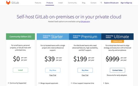 Screenshot of Products Page Pricing Page gitlab.com - Products | GitLab - captured Nov. 22, 2017