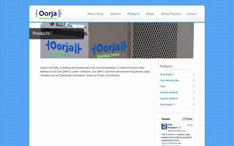 Screenshot of Services Page oorjafuelcells.com - Products - Oorja Fuel Cells - captured June 17, 2015