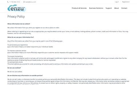 Screenshot of Privacy Page enzu.com - Contacting Enzu Inc. - captured Nov. 24, 2015