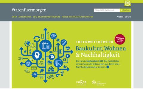 Screenshot of Home Page tatenfuermorgen.de captured July 7, 2018