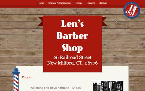 Screenshot of Services Page lensbarbershop.com - Price list - captured May 18, 2017
