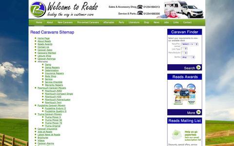 Screenshot of Site Map Page readcaravans.com - Caravan sales in Blackburn, Lancashire and the Northwest - captured Sept. 30, 2014