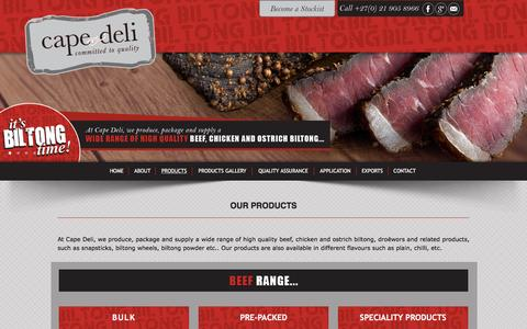 Screenshot of Products Page capedeli.co.za - Biltong and droëwors products, Cape Town - captured Oct. 19, 2016