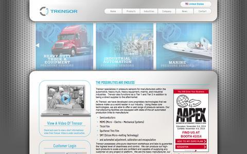 Screenshot of Home Page trensor.com - Trensor - Home - captured Oct. 7, 2014