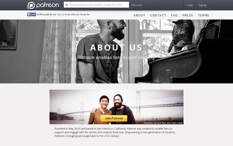 Screenshot of About Page patreon.com - Patreon: About - captured July 18, 2014