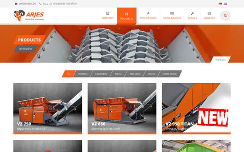 Screenshot of Products Page arjes.de - Products | ARJES Recycling Innovation - captured May 3, 2018