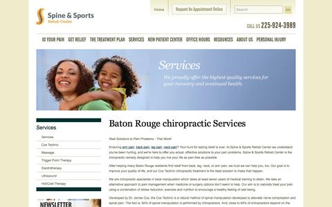 Screenshot of Services Page docshay.com - Baton Rouge  chiropractic Services | Spine & Sports Rehab Center - captured Nov. 5, 2016