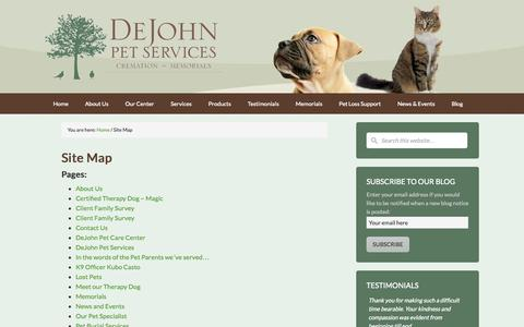 Screenshot of Site Map Page dejohnpetservices.com - Site Map - DeJohn Pet Cremation - Pet Loss Support and Crematory - Ohio - captured Oct. 29, 2014