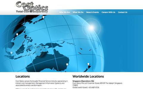 Screenshot of Locations Page costoptics.com - Cost Optics: Our Locations - captured Sept. 30, 2014