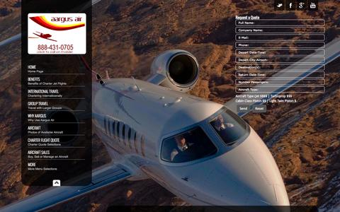 Screenshot of Home Page aargusair.com - Private Jet Charter Flights | Best Rates on Lear 35/55 - captured Sept. 23, 2014