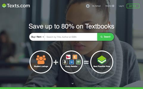 Screenshot of Home Page texts.com - Texts.com — Save hundreds on your textbooks - captured Nov. 17, 2015