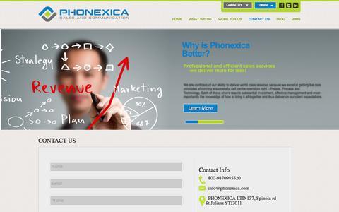 Screenshot of Contact Page phonexica.com - contact us | Phonexica - captured Sept. 29, 2014