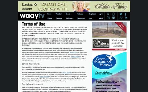 Screenshot of Terms Page waaytv.com - Terms of Use - Huntsville News | WAAYTV.com and ABC 31: Site - captured Sept. 23, 2014