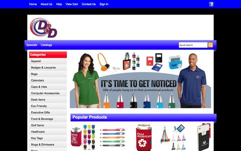 Screenshot of Home Page ddpromo.com - D&D Enterprises - Promotional Products - Home - captured Oct. 3, 2014