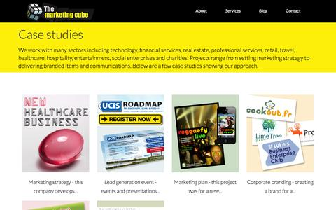 Screenshot of Case Studies Page themarketingcube.com - Case studies | Marketing and brand consultancy for SMEs, start-ups and social enterprises | - captured Jan. 11, 2016