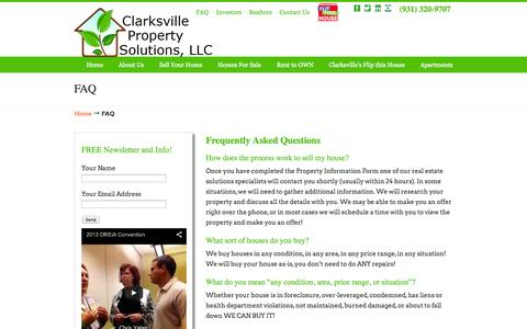 Screenshot of FAQ Page clarksvillepropertysolutions.com - Sell Your House Clarksville tn - We Buy TN Homes Clarksville Property Solutions, LLC.–We Buy and Sell Homes! - captured Oct. 2, 2014