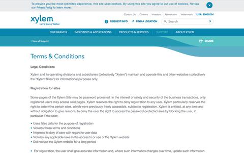 Screenshot of Terms Page xylem.com - Terms and Conditions - Xylem Inc. - United States - captured Sept. 19, 2017