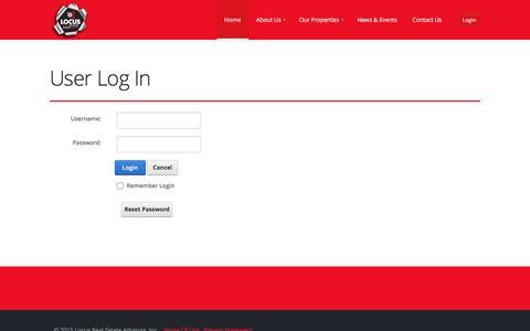 Screenshot of Login Page locusrealestateadvisors.com - User Log In - captured Dec. 10, 2015